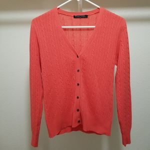 Woolovers Cashmere Wool Cable Knit Cardigan V Neck